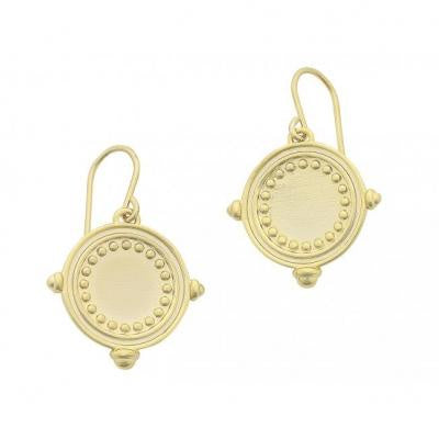 Gold Helena earring by Liberte design - at the white place, orange