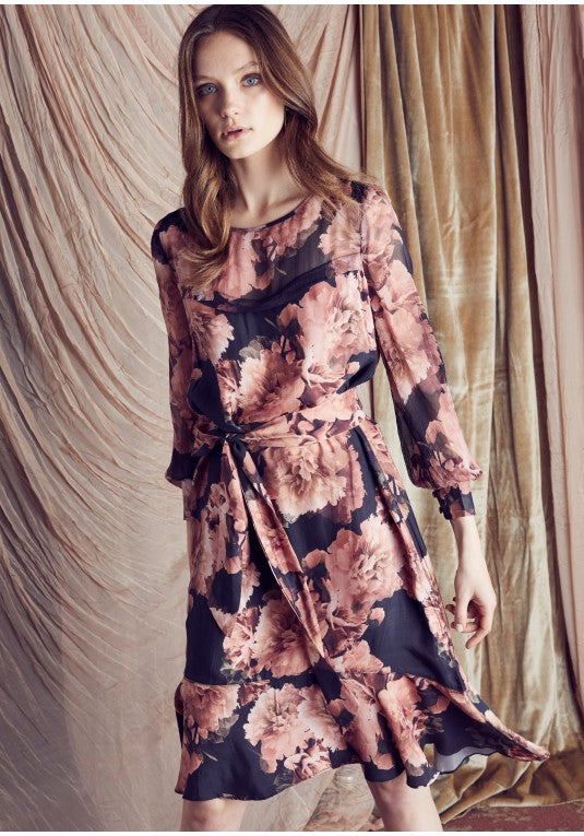 OnceWas MEMBERS CHIFFON SLEEVE CUPRO TIE WAIST DRESS IN EDEN FLORAL