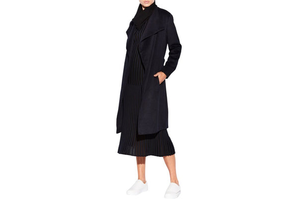 Smoke Wrap Coat - navy