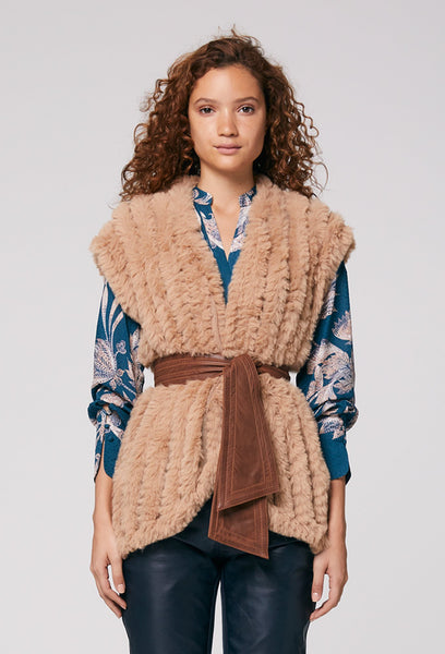 Once was faux fur vest - available at the white place, orange