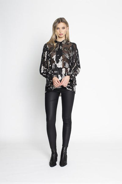 Black and white silk print shirt - free shipping in australia