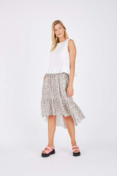Animal print linen skirt - free shipping