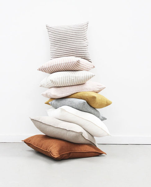 papaya christophe linen cushion - available at the white place, orange