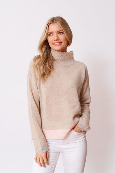Alessandra Amelie Polo Sweater Muesli - available at The White Place