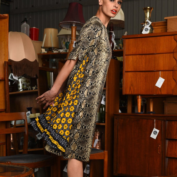 M.A Dainty - Alleycat Dress Snake Pit Print with yellow flowers