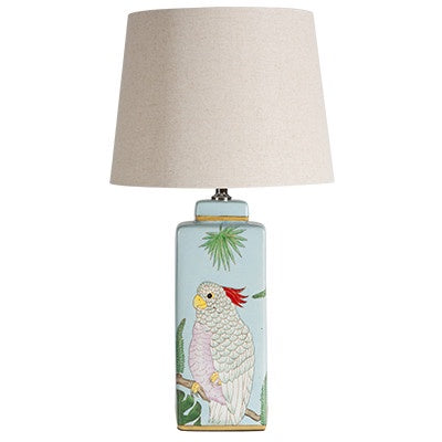 Canvas and Sasson - blue galah lamp available at the white place, orange nsw