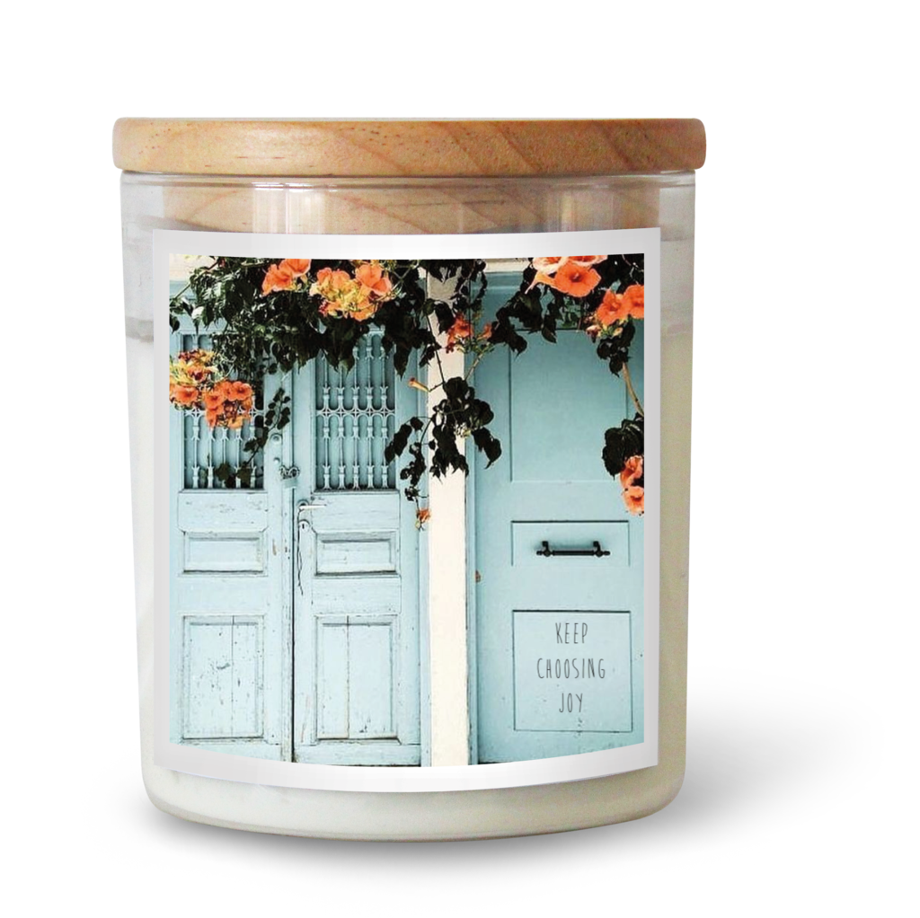Keep Choosing Joy - commonfolk collective candle available at the white place, orange