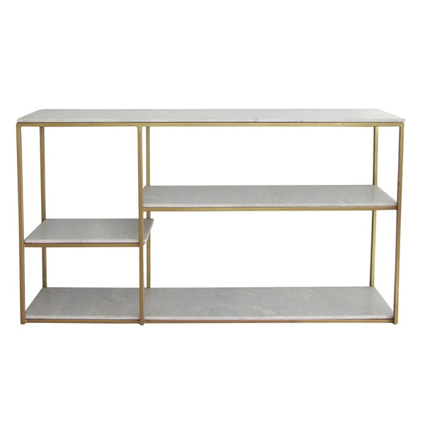 French country Marco staggered marble and brass console - available at the white place, orange