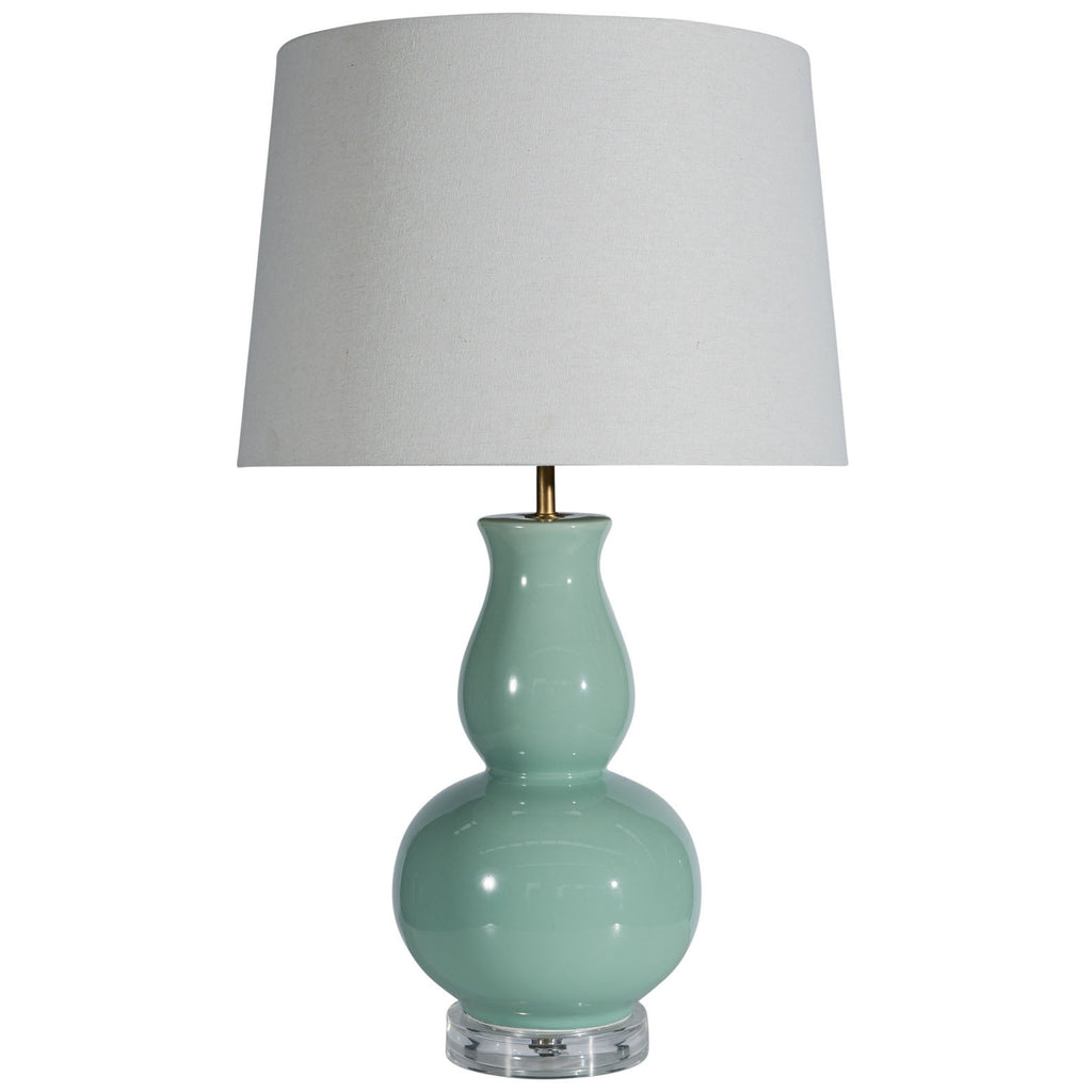 Mint ceramic lamp with white shade