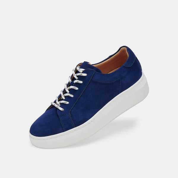 Navy, leather sneaker - free shipping