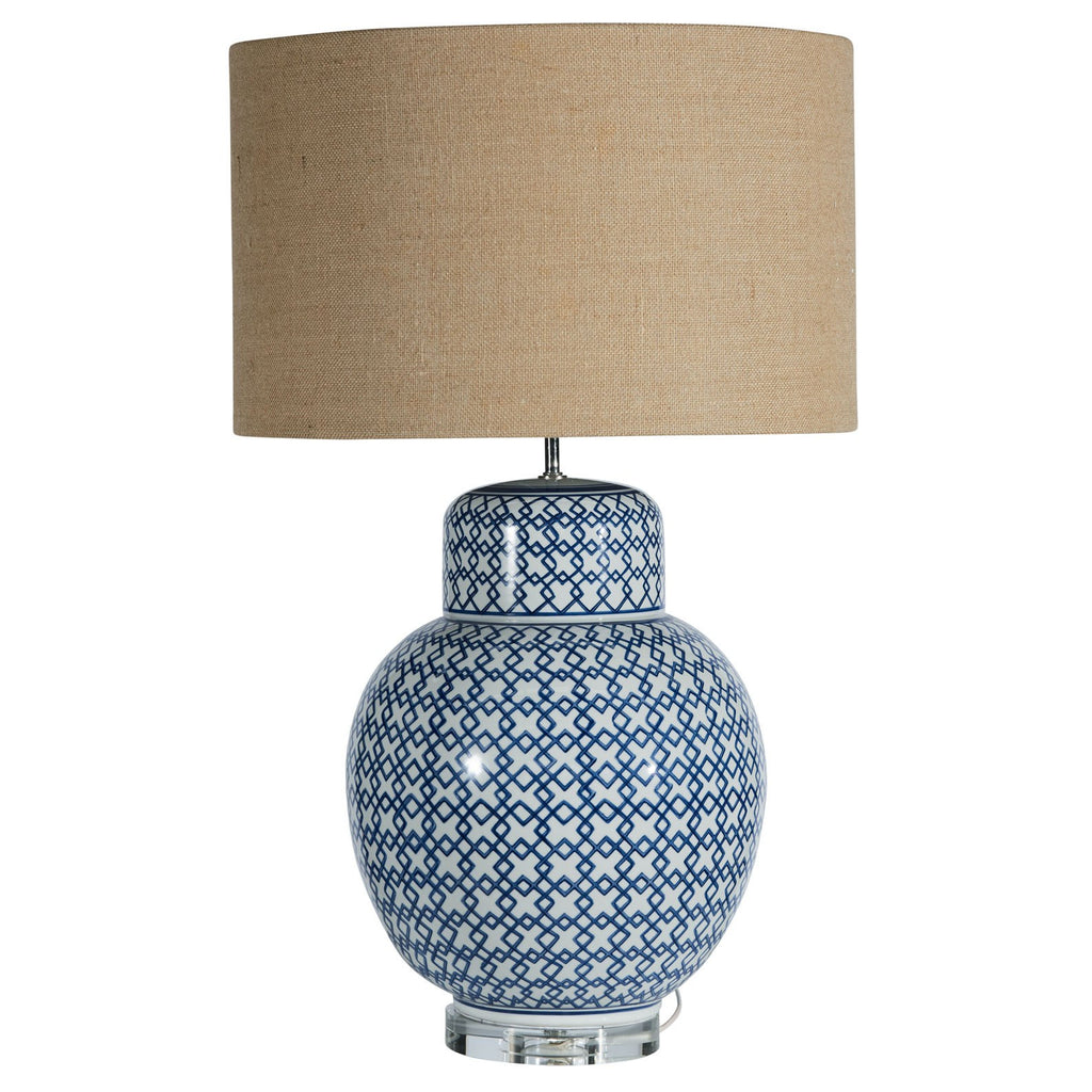 Large blue and white lamp with natural shade