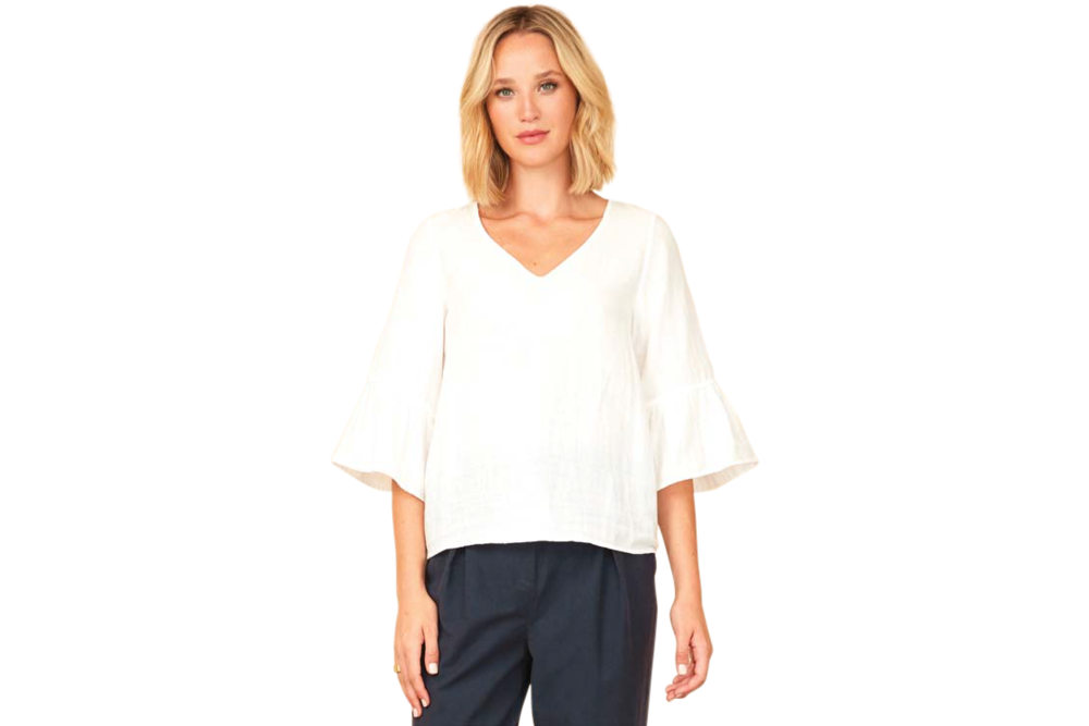 Mesop envie top in white / ivory is 100% cotton, available for purchase from the white place, orange nsw. free shipping within australia