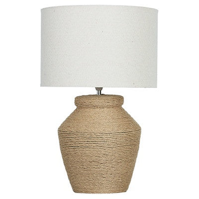 Large rope lamp with white shade