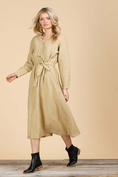 ochre linen dress - free shipping