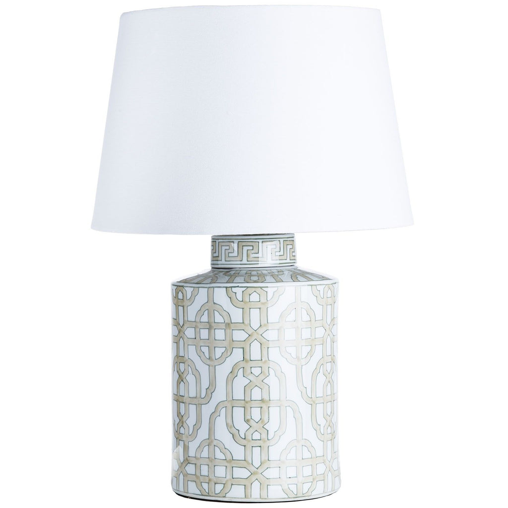 Patterned lamp with white shade