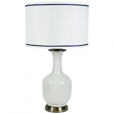 white lamp with white and navy shade - available at the white place, orange nsw