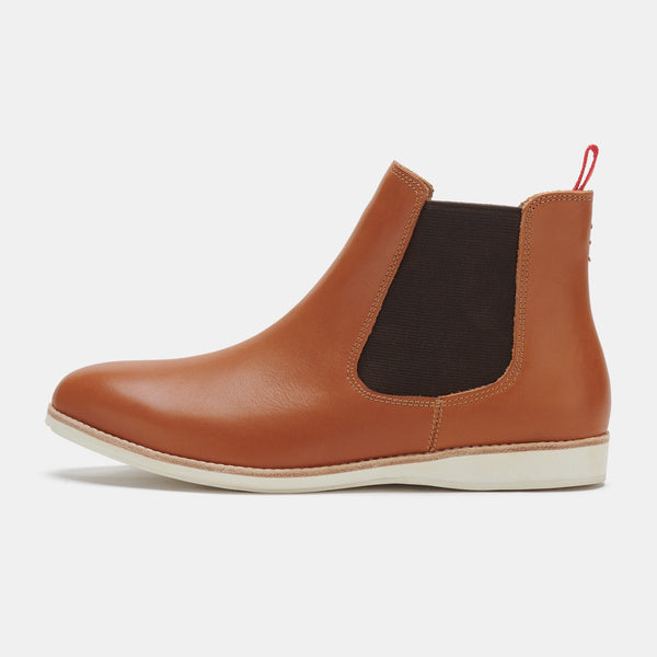 Tan leather flat boot - free shipping