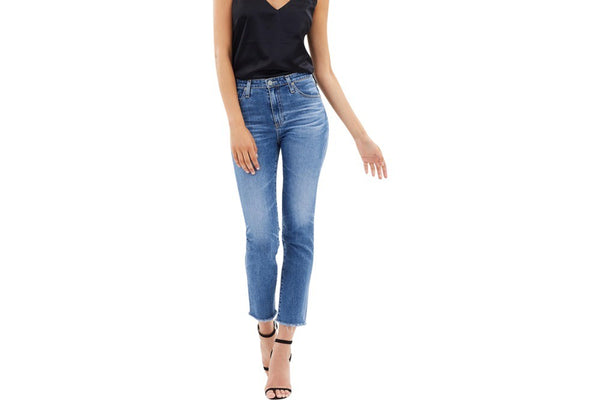 AG Isabelle High Rise Straight Leg Crop Blue
