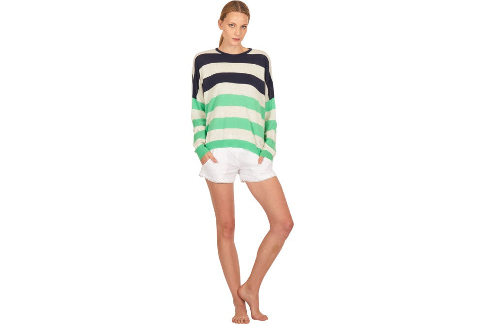 Alessandra 100% cotton, stripey Jill jumper, in green and navy stripe jumper available for purchase from the white place, orange nsw