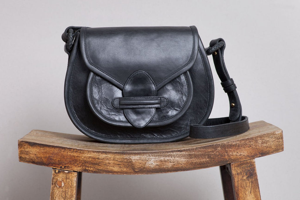 ovae stitch saddle bag in black leather - available at the white place, orange nsw . free shipping in australia