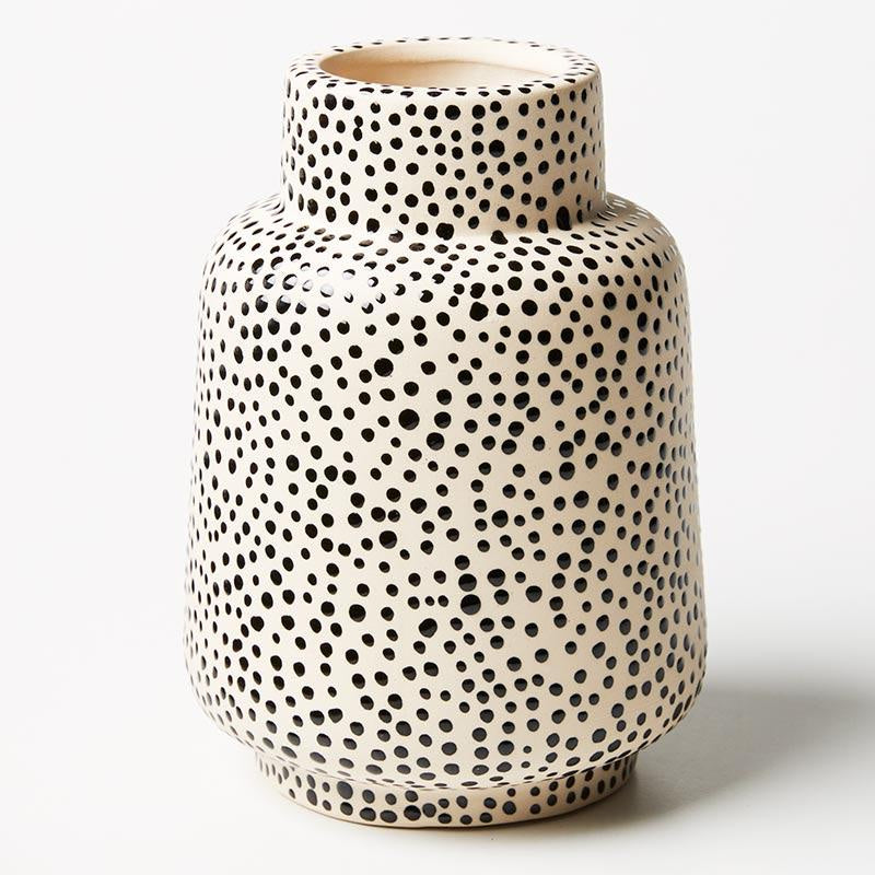 Jones & Co Black spotted vase - available at the white place, orange nsw