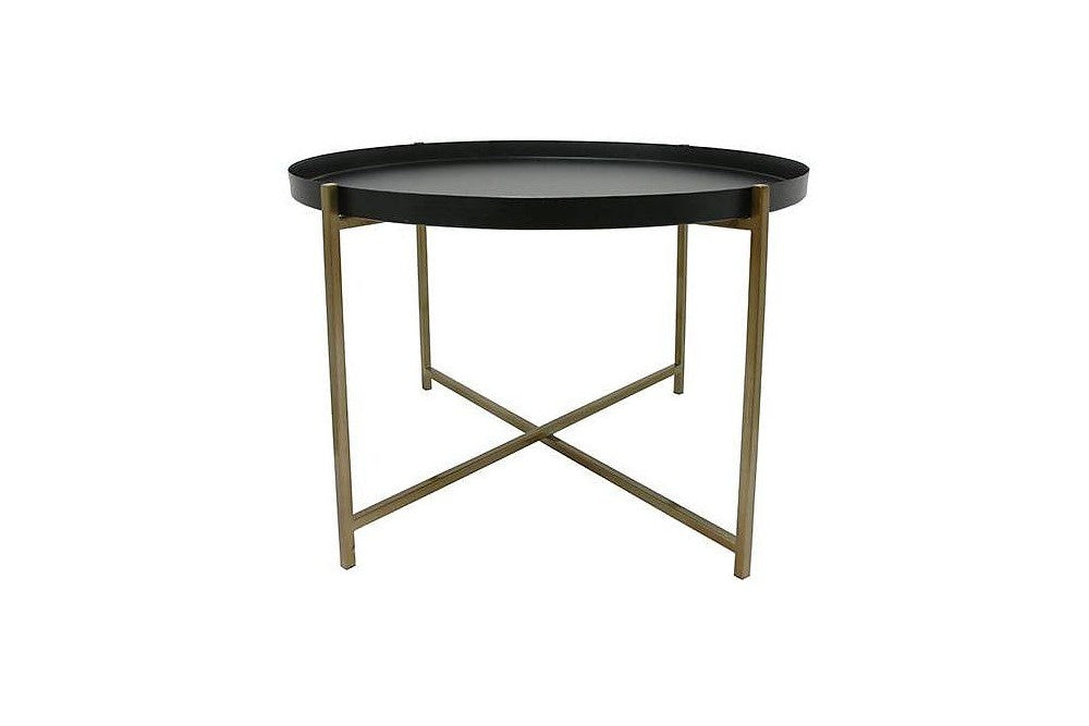 large brass and black side table