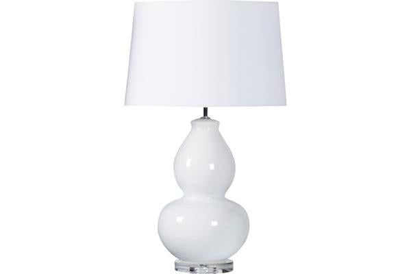 White Curved Lamp with White Shade