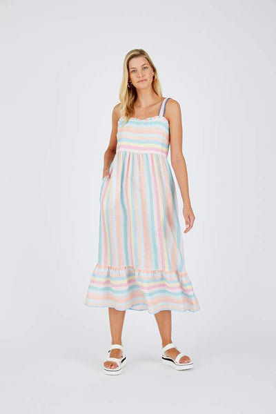 Alessandra Rainbow linen dress - available at the white place, Orange NSW