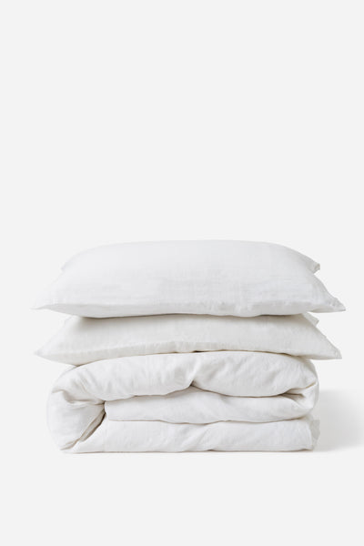 White linen doona cover - available at the white place, orange