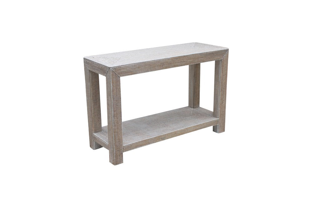 White Wash rattan console table
