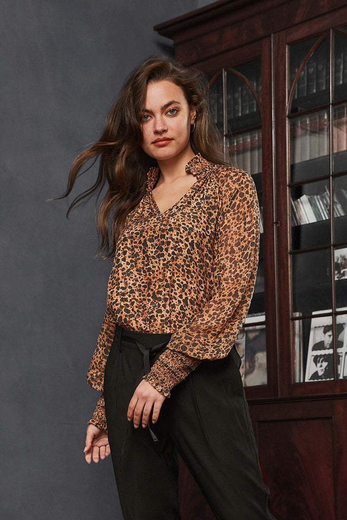 silk leopard shirt - free shipping