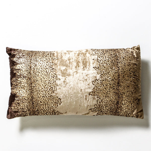 Velvet and gold cushion