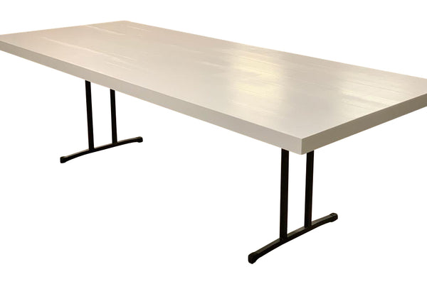 white timber dining table