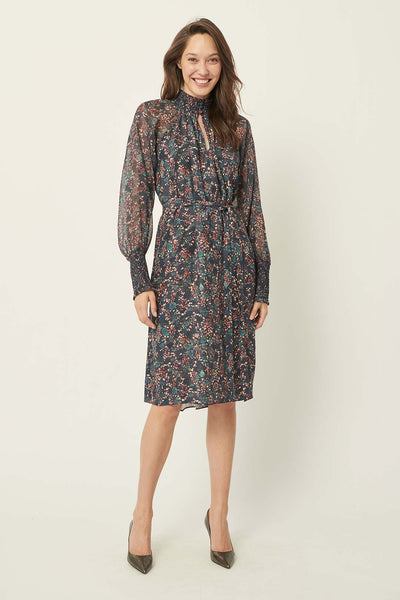 Calla forestry silk dress - The White Place