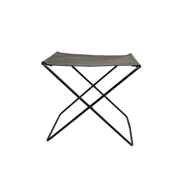 black leather folding stool - available at the white place, orange nsw