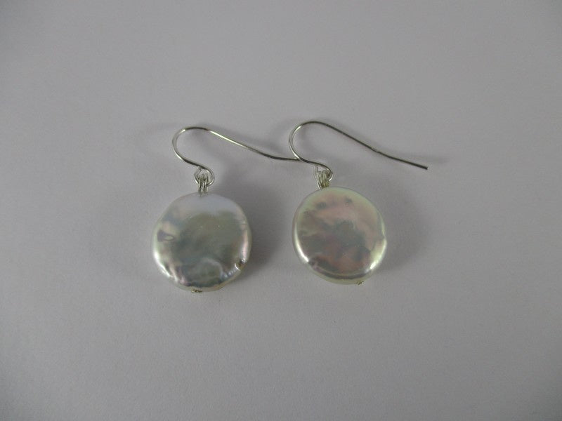 coin pearl earrings - available at the white place, orange