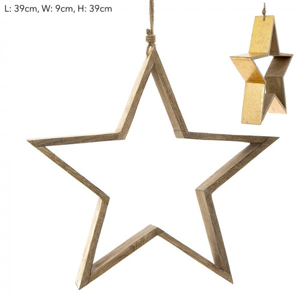 Gold christmas decoration, wooden star, available at the white place, orange nsw