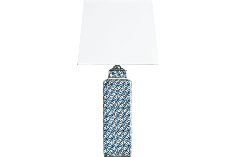 Tall Blue Square Lamp with Square Shade