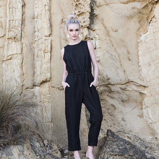 100% linen black overalls available at the white place, orange nsw
