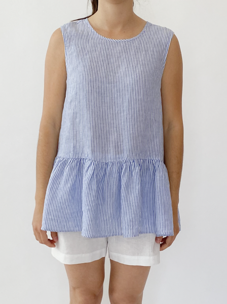 Blue stripe linen top - free shipping