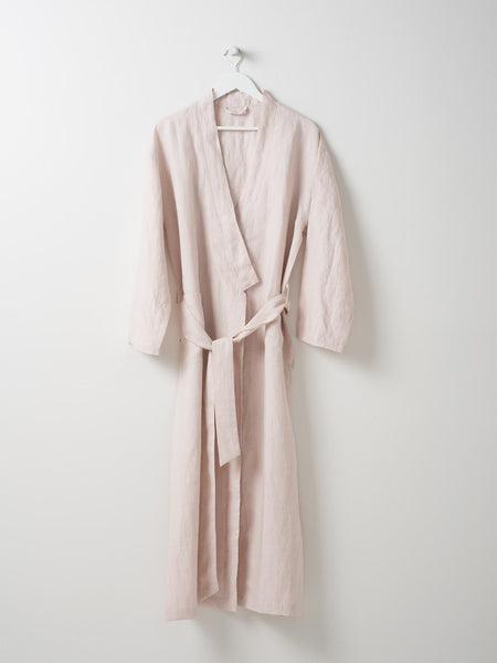 pink linen dressing gown - free shipping in australia