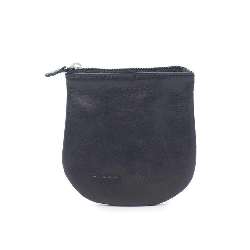 black leather coin purse, available at the white place, orange