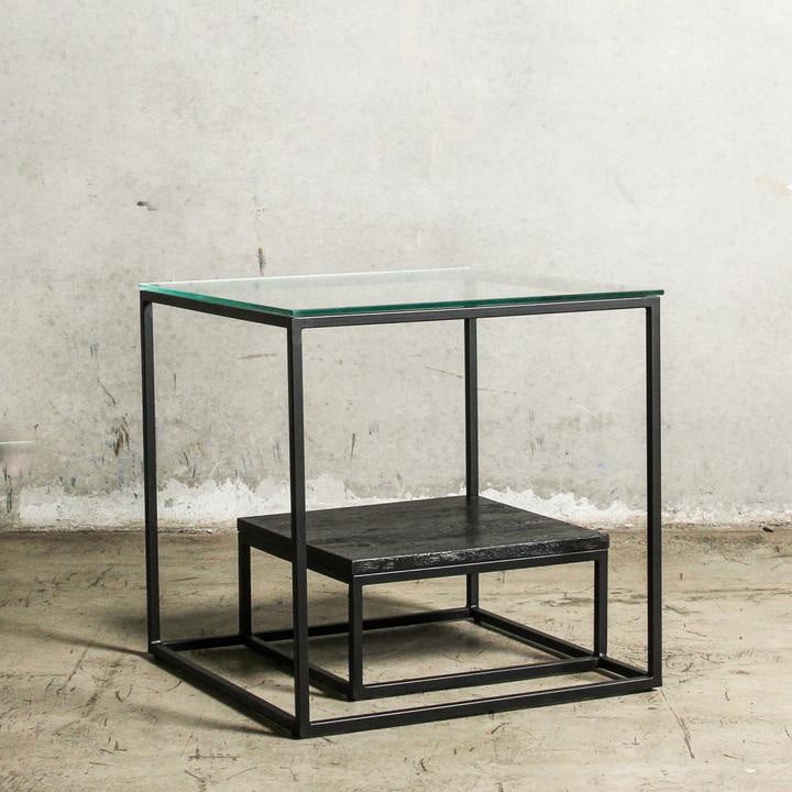 Black side Table with glass top