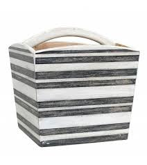 striped wooden box with handle