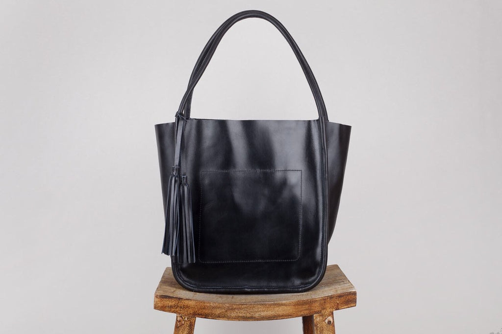 black leather tote handbag - available at the white place, orange nsw. free shipping within australia