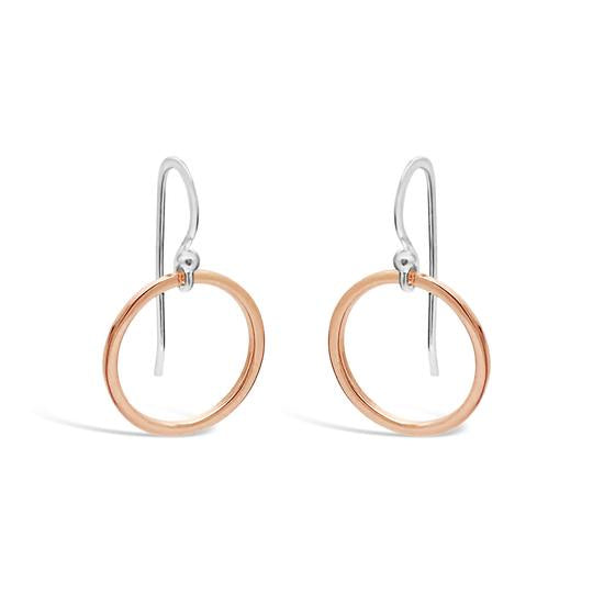 rose gold and sterling silver drop earrings available at the white place, orange