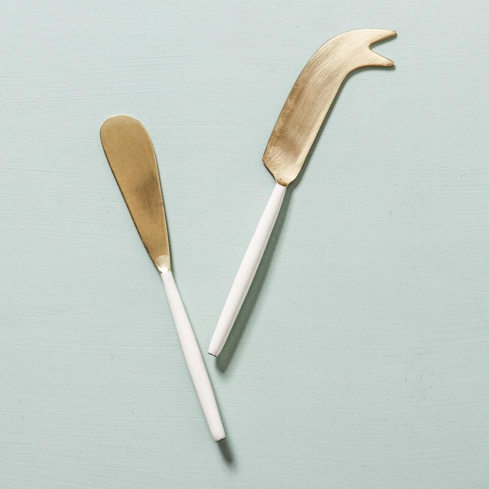 white and gold cheese knife set - available at the white place, orange nsw. free shipping in australia