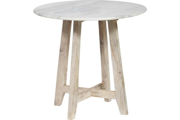 marble and mango wood side table 60W X 60D X 56H CM