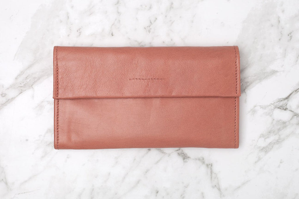 arlo wallet in rose - leather wallet available at the white place, free shipping in australia