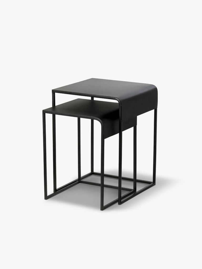 L & M Kova black nesting tables, available at the white place, orange nsw